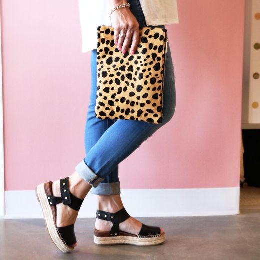 7 Fayna Calf Hair and Leather Foldover Clutch and Oak Platform Wedge Espadrilles