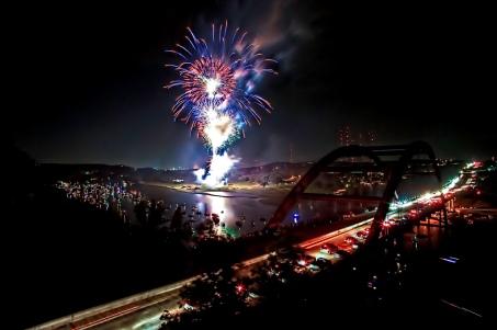 fireworks over the pennybacker bridge